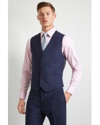 Hardy Amies - Tailored Fit Blue Hopsack Waistcoat - Lyst