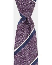 Moss Bros - Purple With Black & White Stripe Tie - Lyst