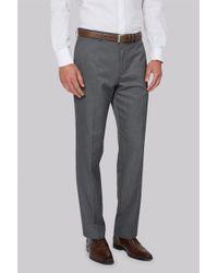 Moss Esq. - Regular Fit Machine Washable Grey Trousers - Lyst
