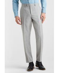 Ted Baker Tailored Fit Light Grey Crepe Trousers - Gray