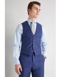 Ted Baker - Tailored Fit Iris Blue Twill Waistcoat - Lyst