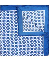 Hardy Amies - Cobalt Geo Silk Pocket Square - Lyst