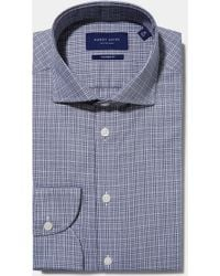 Hardy Amies - Tailored Fit Navy Single Cuff Melange Check Shirt - Lyst