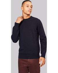 Moss London - Navy Crew Neck Jumper - Lyst