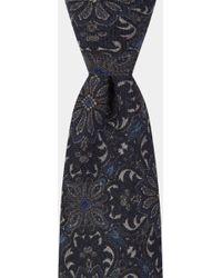 Hardy Amies - Navy Floral Printed Italian Wool Tie - Lyst