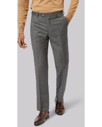 Ted Baker - Tailored Fit Grey Rust Windowpane Trousers - Lyst