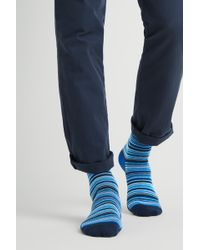 Moss London - Navy Multi-fine Stripe Socks - Lyst
