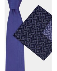 Moss Esq. - Purple & Blue Geometric Tie & Pocket Square - Lyst