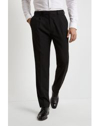 Moss Esq. - Regular Fit Machine Washable Black Single Pleat Front Trousers With Stretch - Lyst