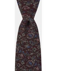 Hardy Amies - Burgundy Floral Printed Italian Wool Tie - Lyst