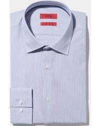 HUGO - Slim Fit Navy Hairline Stripe With Contrast Trim Shirt - Lyst