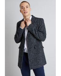 Moss London - Slim Fit Light Grey Textured Herringbone Overcoat - Lyst