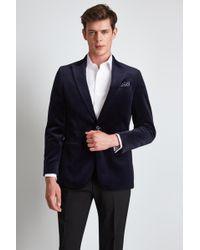 Hardy Amies - Tailored Fit Blue Velvet Dress Jacket - Lyst