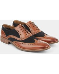 Moss London - Benson Brown & Navy Contrast Oxford Shoe - Lyst