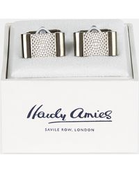 Hardy Amies - Gunmetal Two Tone Textured Cufflinks - Lyst
