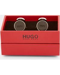 HUGO - Round Enamel Black Cufflinks - Lyst