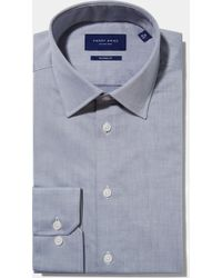 Hardy Amies - Tailored Fit Grey Single Cuff Natural Stretch Twill Shirt - Lyst