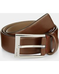 HUGO - Hugo Boss Tumbled Leather Brown Belt - Lyst