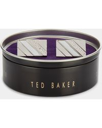 Ted Baker - Ceaser Silver Semi-polished Stripe Cufflinks - Lyst