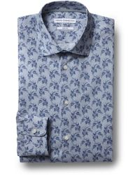 French Connection - Slim Fit Blue Single Cuff Paisley Shirt - Lyst