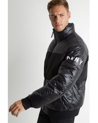 DKNY - Slim Fit Black Quilted Puffer Jacket - Lyst