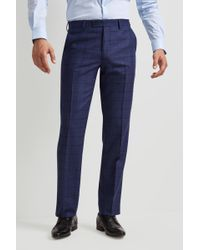Ted Baker - Tailored Fit Blue Overcheck Trousers - Lyst