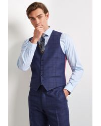 Ted Baker - Tailored Fit Blue Overcheck Waistcoat - Lyst