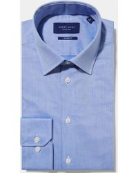 Hardy Amies - Tailored Fit Blue Single Cuff Natural Stretch Twill Shirt - Lyst