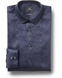 Moss Bros - Extra Slim Fit Navy Single Cuff Pleated Dress Shirt - Lyst