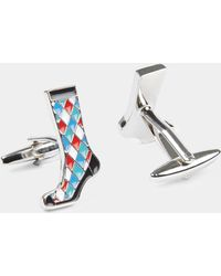 Moss London - Blue & Red Diamond Sock Cufflink - Lyst