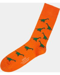 Moss London - Orange With Green Brachiosaurus Socks - Lyst