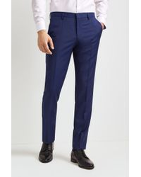 HUGO - Tailored Fit Plain Bright Blue Trousers - Lyst