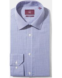 Moss Esq. - Regular Fit Blue Single Cuff Dobby Non Iron Shirt - Lyst