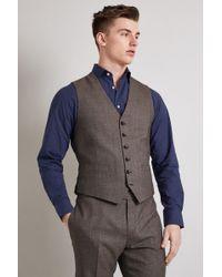 Hardy Amies - Tailored Fit Brown Twist Waistcoat - Lyst