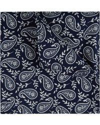 Moss London - Navy & White Paisley Cotton Pocket Square - Lyst