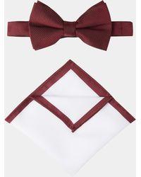 Moss London - Wine Textured Bow Tie & Hank Set - Lyst