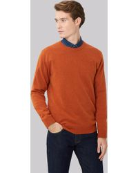 Moss London - Orange Crew Neck Jumper - Lyst