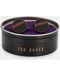 Ted Baker - Chocolate Embossed Enamel Fan Cufflinks - Lyst