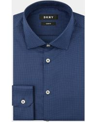 DKNY - Slim Fit Blue Single Cuff Textured Shirt - Lyst