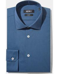 DKNY - Slim Fit Marine Blue Single Cuff Stretch Shirt - Lyst