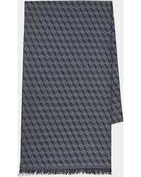 DKNY - Grey Geo Italian Wool Scarf - Lyst