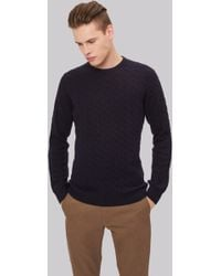 Moss London - Navy Cable Crew Neck Jumper - Lyst