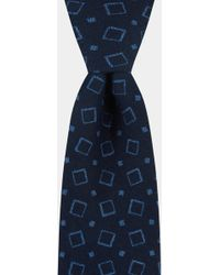 Moss Bros - Navy Square Printed Cotton Tie - Lyst