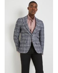 Moss Bros - Moss London Skinny Fit Grey Speckle Check Jacket - Lyst