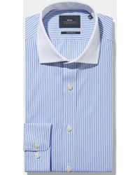 Moss Bros - Extra Slim Fit Blue Single Cuff Stripe Shirt With Contrast Collar - Lyst