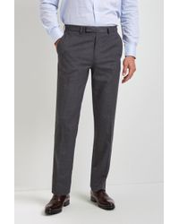Moss Esq. - Regular Fit Machine Washable Mid Grey Trousers With Stretch - Lyst