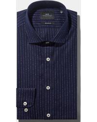 Moss Bros - Extra Slim Fit Single Cuff Navy Boucle Stripe Shirt In Italian Fabric - Lyst