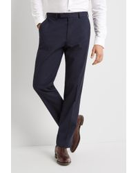 Moss Esq. - Ire Regular Fit Machine Washable Blue Trousers With Stretch - Lyst
