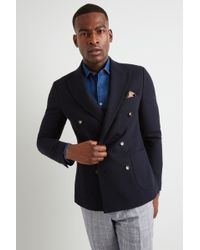 95009590e0a19d Moss London Skinny Fit Blue Knit Double Breasted Jacket in Blue for ...