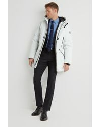 DKNY - Slim Fit White Long Hooded Logo Parka - Lyst